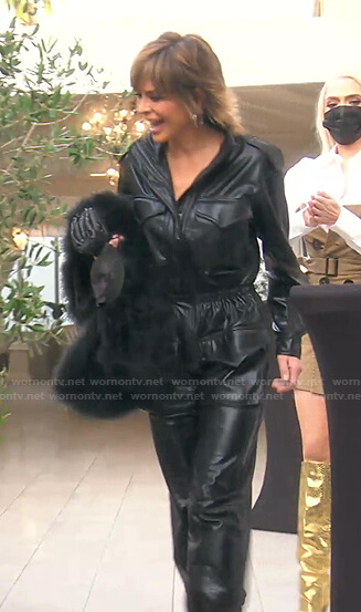 Lisa's black cargo leather jumpsuit on The Real Housewives of Beverly Hills