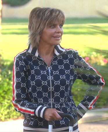 Lisa's navy GG print track jacket and pants on The Real Housewives of Beverly Hills