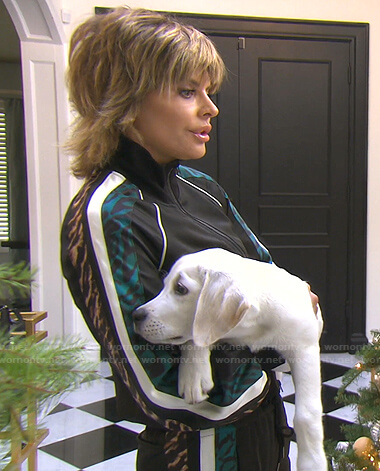 Lisa's black leopard stripe track jacket and pants on The Real Housewives of Beverly Hills