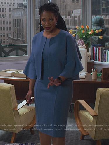 Liz's ruffle sleeve blazer and midi dress on The Good Fight