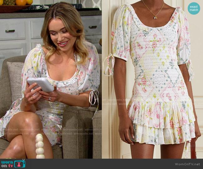 LoveShackFancy Violet Dress worn by Flo Fulton (Katrina Bowden) on The Bold & the Beautiful