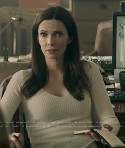 Lana's white v-neck puff sleeve sweater on Superman and Lois