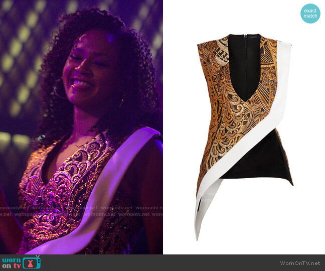 Louis Vuitton Asymmetric V-neck Jacquard Top worn by Sondi Hill (Corbin Reid) on Run the World