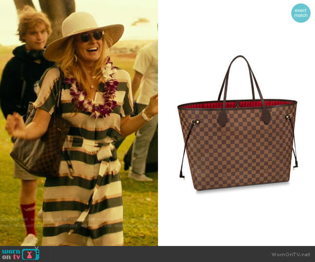 Louis Vuitton Neverfull worn by Nicole Mossbacher (Connie Britton) on The White Lotus