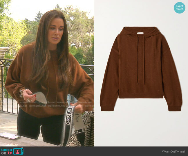 Linosa cashmere hoodie by Loulou Studio worn by Kyle Richards  on The Real Housewives of Beverly Hills