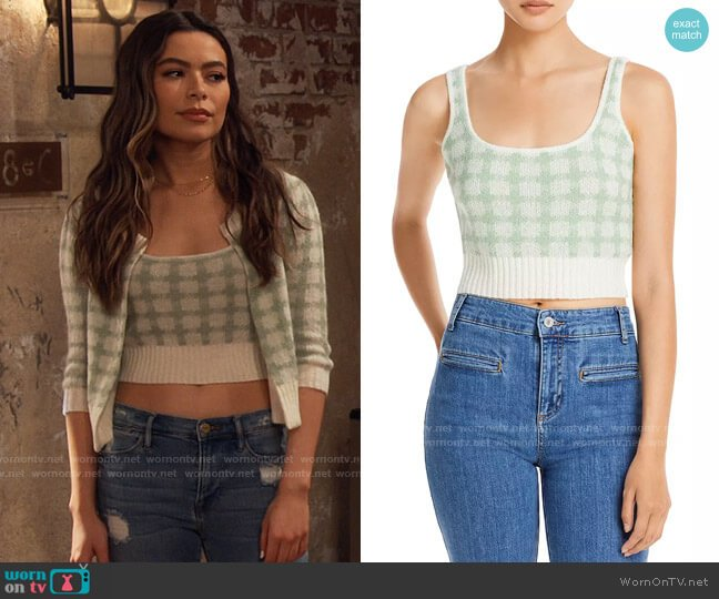 Lucy Paris Gingham Cropped Tank Top worn by Carly Shay (Miranda Cosgrove) on iCarly