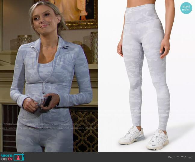 Lululemon Wunder Under High-Rise Tight in Incognito Camo Jacquard Alpine White Starlight worn by Abby Newman (Melissa Ordway) on The Young & the Restless