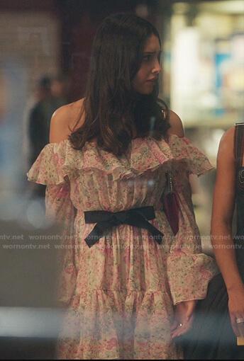 Luna's floral ruffled off-shoulder dress on Gossip Girl