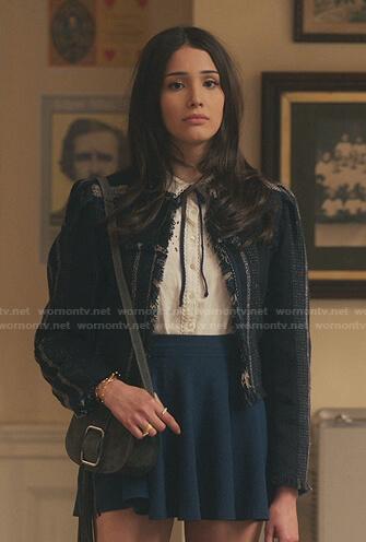 Luna's striped frayed tweed jacket on Gossip Girl