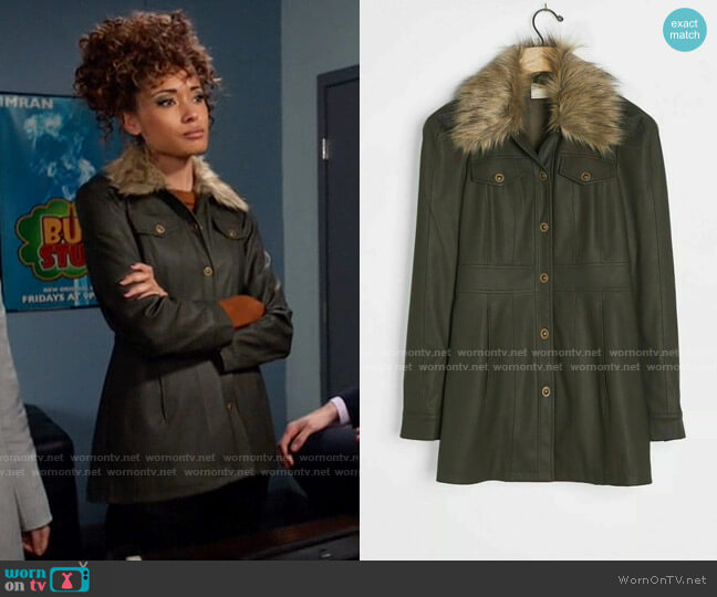Anthropologie Maeve Kellie Faux Leather Coat  worn by Astra Logue (Olivia Swann) on Legends of Tomorrow