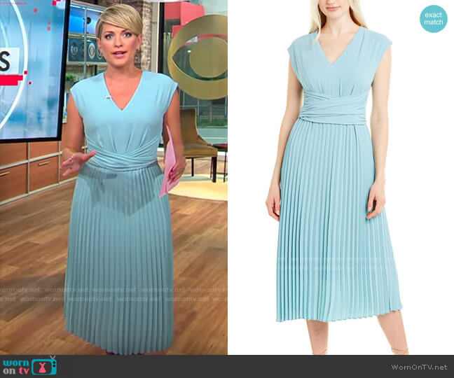 Maggy London Faux Wrap Pleated V-Neck Dress worn by Jamie Yuccas  on CBS Mornings