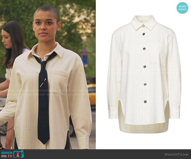 Cimpo Striped Shirt by Maje worn by Julien Calloway (Jordan Alexander) on Gossip Girl