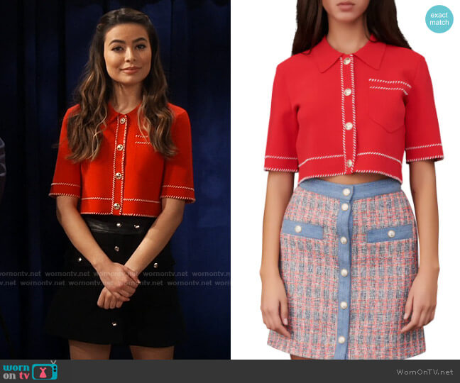 Maje Moss Cropped Short Sleeve Cardigan worn by Carly Shay (Miranda Cosgrove) on iCarly