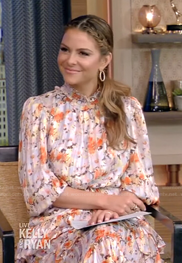 Maria Menounos's floral ruffle midi dress on Live with Kelly and Ryan