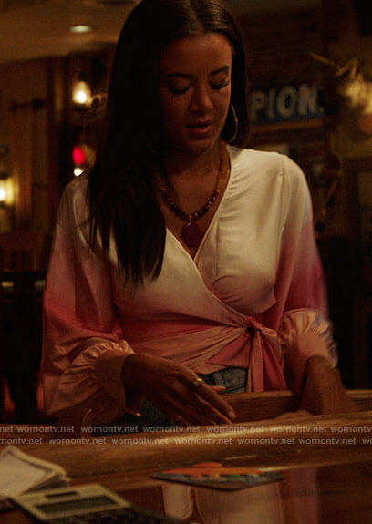 Maria's pink ombre wrap top on Roswell New Mexico