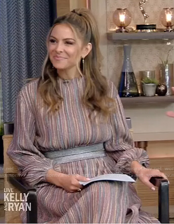Maria Menounos's striped cropped top and skirt on Live with Kelly and Ryan
