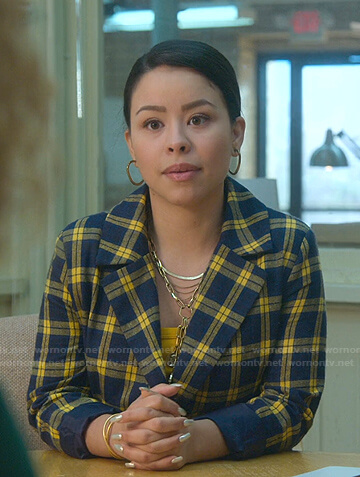 Mariana's blue and yellow check blazer on Good Trouble