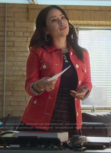 Mariana's red contrast stitch jacket on Good Trouble