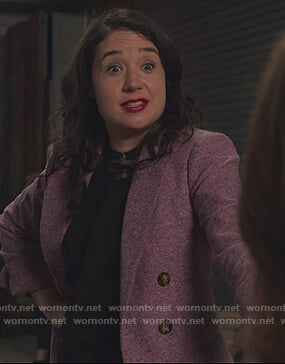 Marissa's pink double breasted blazer on The Good Fight