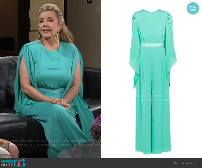 Max Mara Tobruk Jumpsuit worn by Nikki Reed Newman (Melody Thomas-Scott) on The Young & the Restless