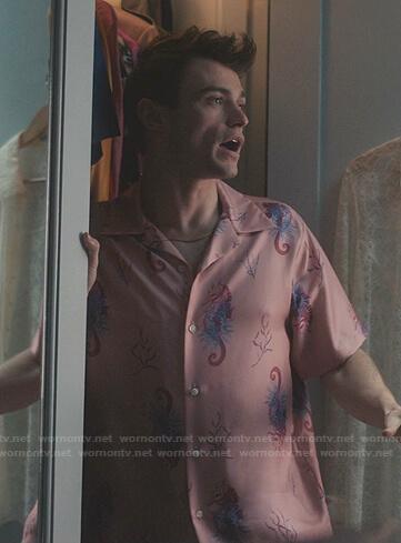 Max's pink sea horse print shirt on Gossip Girl