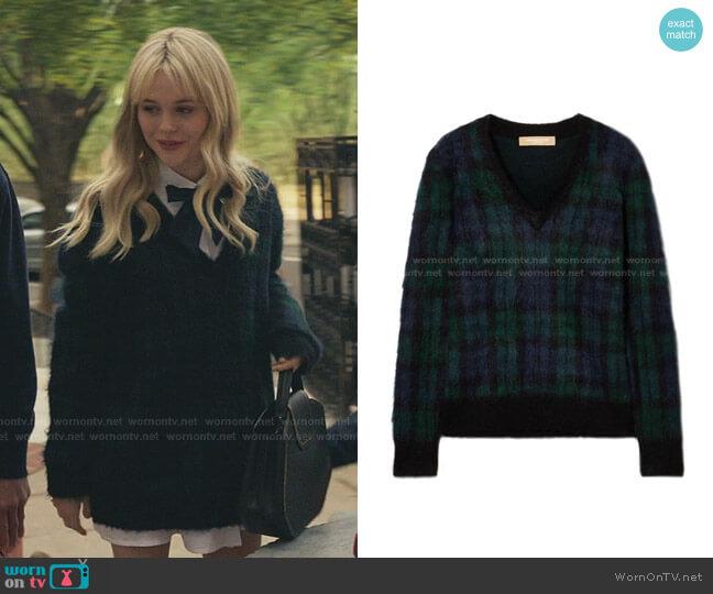 Tartan Mohair-blend Sweater by Michael Kors worn by Audrey Hope (Emily Alyn Lind) on Gossip Girl
