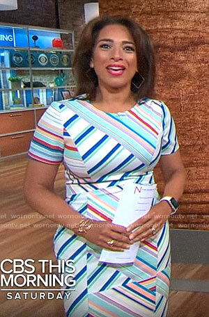 Michelle Miller's mixed stripe dress on CBS This Morning