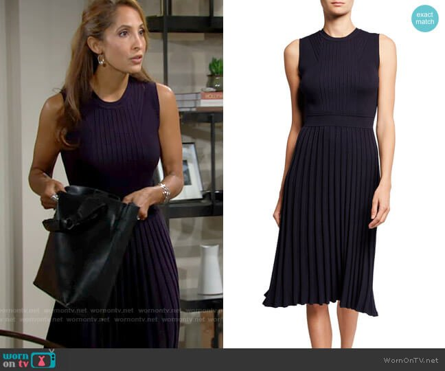 Milly Rib Mix Sleeveless Pleated Dress worn by Lily Winters (Christel Khalil) on The Young & the Restless