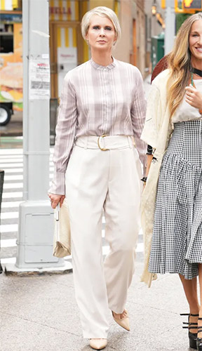 Miranda's plaid blouse and white trousers on And Just Like That... (Sex and the City reboot)