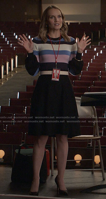 Miss Jenn's striped sweater dress on High School Musical The Musical The Series