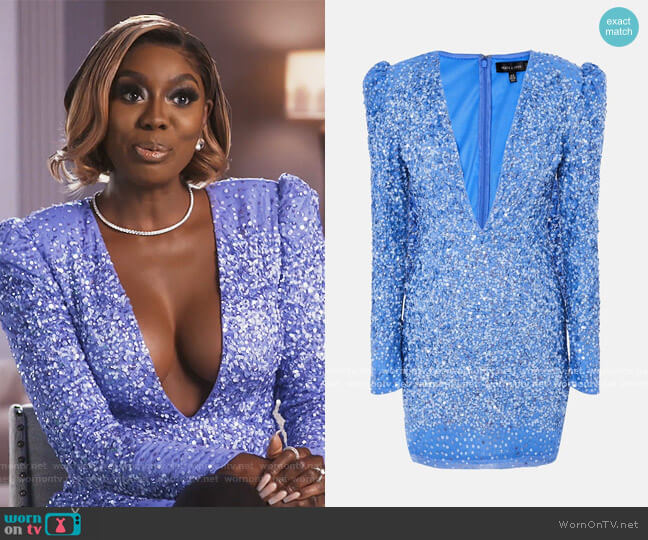 Peace and Love blue sequin plunge mini dress by Missguided worn by Wendy Osefo  on The Real Housewives of Potomac