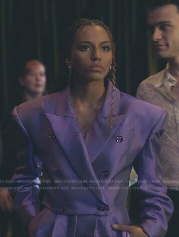 Monet's purple cropped blazer and pants on Gossip Girl