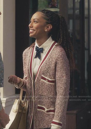 Monet's red tweed cardigan on Gossip Girl