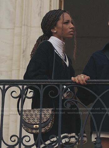 Monet's black varsity sweater dress on Gossip Girl