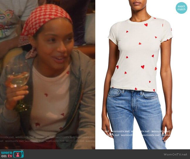 Allover Embroidered Hearts Tee by Monrow worn by Zoey Johnson (Yara Shahidi) on Grown-ish