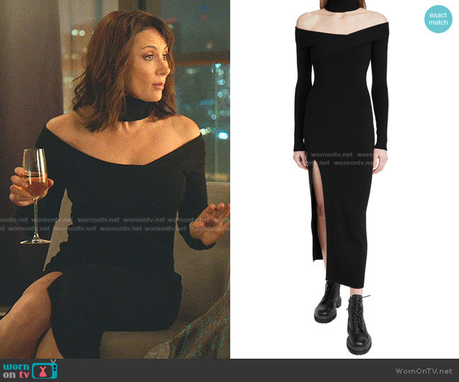 Off Shoulder Turtleneck Arch Dress by Monse worn by Quinn (Laura Benanti) on Younger