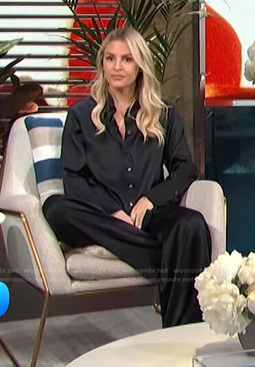 Morgan's black satin shirt and wide-leg pants on E! News Daily Pop