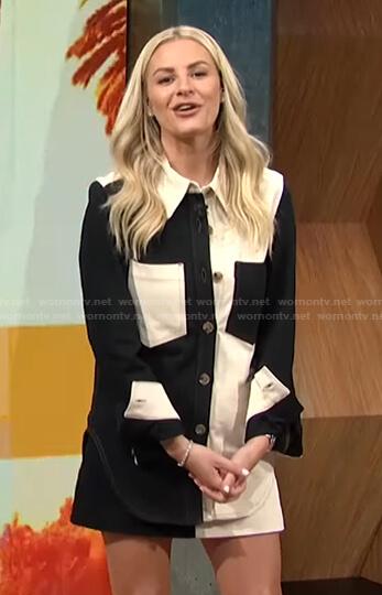 Morgan's colorblock button down shirt and mini skirt on E! News Daily Pop