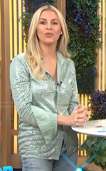 Morgan's green sequin shirt on E! News Daily Pop