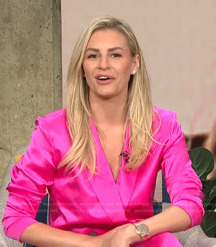 Morgan's pink double breasted blazer on E! News Daily Pop