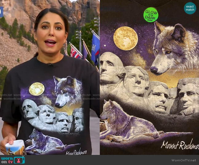 Glow In Dark Wolf T-Shirt by Hanes at Mt Rushmore T Shirts Store worn by Cecilia Vega  on Good Morning America