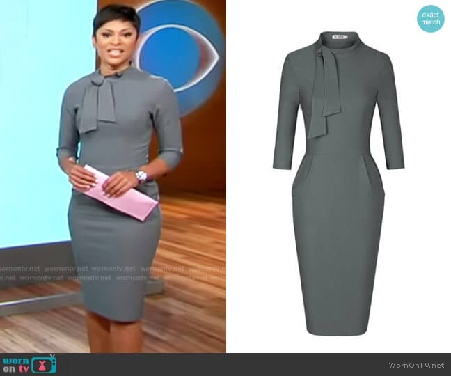 Muxxn Classic Vintage Tie Neck Formal Cocktail Dress with Pocket worn by Jericka Duncan  on CBS Mornings