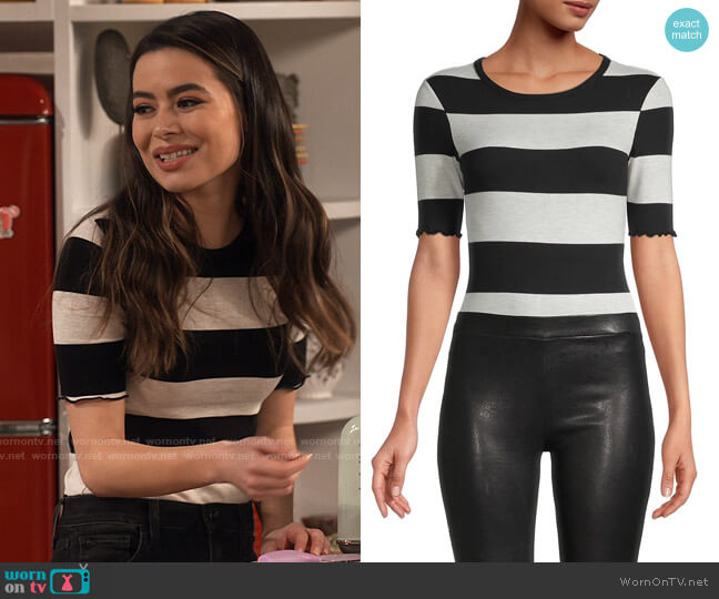 n:philanthropy Suri Stripe Cotton Bodysuit worn by Carly Shay (Miranda Cosgrove) on iCarly