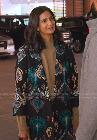 Nalini's black embroidered coat on Never Have I Ever