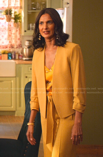 Nalini's yellow print cami and jacket on Never Have I Ever