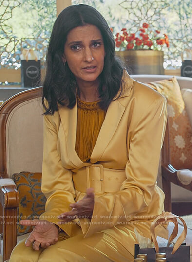 Nalini's yellow satin belted blazer on Never Have I Ever