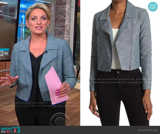 NANETTE Nanette Lepore Suede Moto Jacket worn by Jamie Yuccas  on CBS Mornings