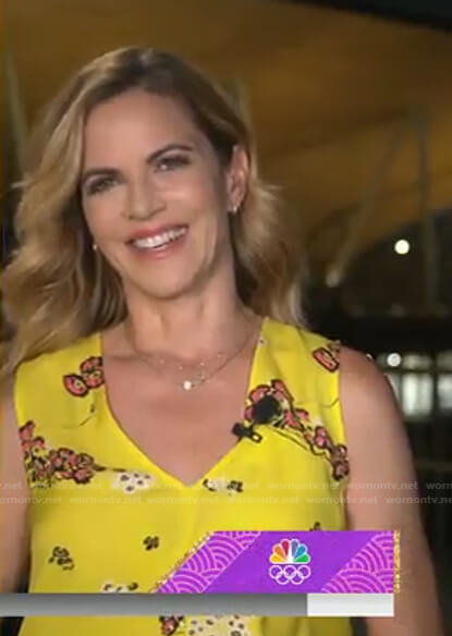 Natalie's yellow floral sleeveless dress on Today