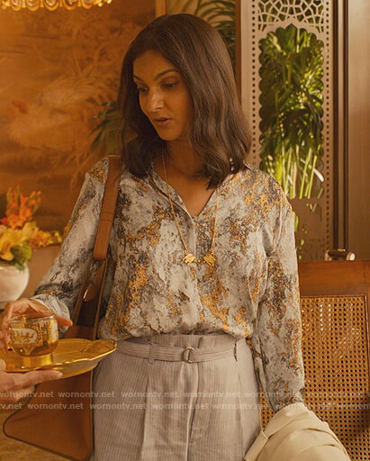 Nalini's blue printed blouse on Never Have I Ever