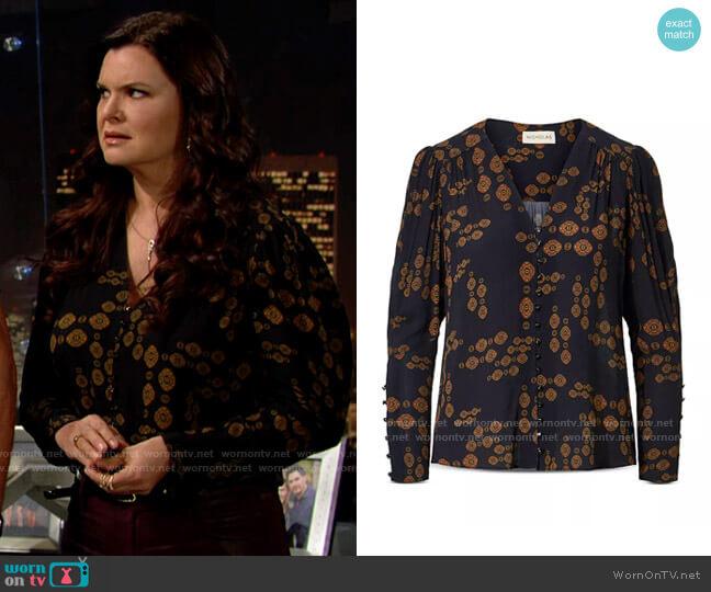 Nicholas Annika Paisley Blouse worn by Katie Logan (Heather Tom) on The Bold & the Beautiful